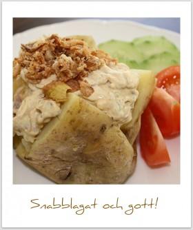 Bakad potatis med krämig rostbiffsröra